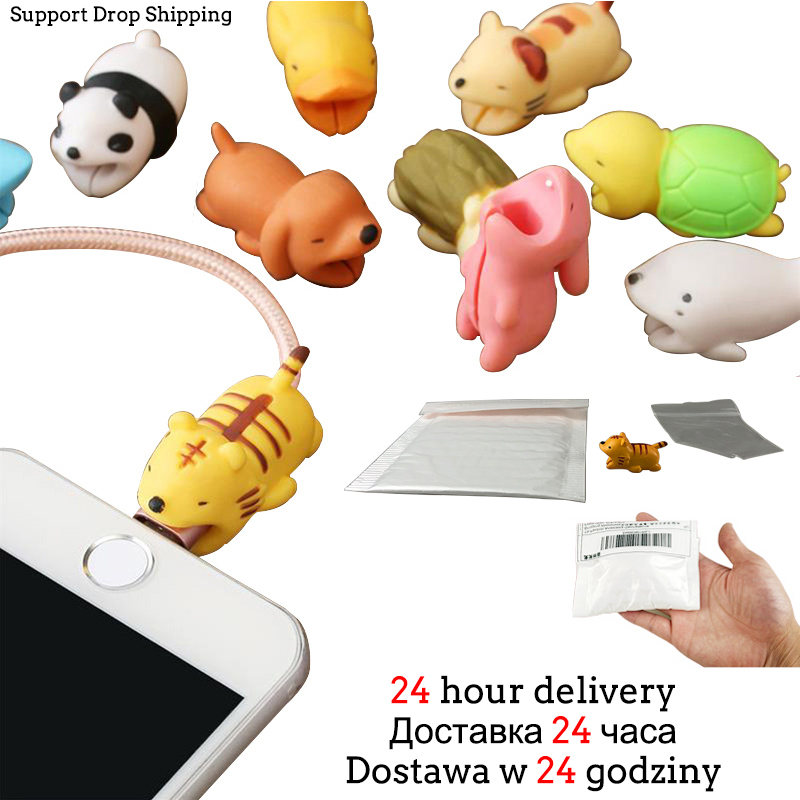 Animal Cable Bites Protector For Iphone/Android USB Protege Cable Charger Squishy Toys Toy Phone Accessory Fangs Practical Joke