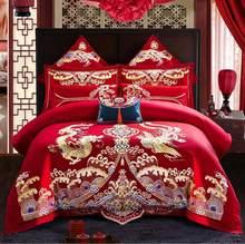 Drago di lusso Phoenix Ricamo Rosso di Stile Cinese di Nozze 100% Cotone 4/6Pc Set di Biancheria Da Letto Copripiumino lenzuolo/Federe di lino