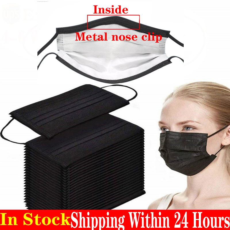 10/30/200pcs/ black disposable masks <font><b>3</b></font> layers non-woven elastic ear loop face masks disposable black face mask  image