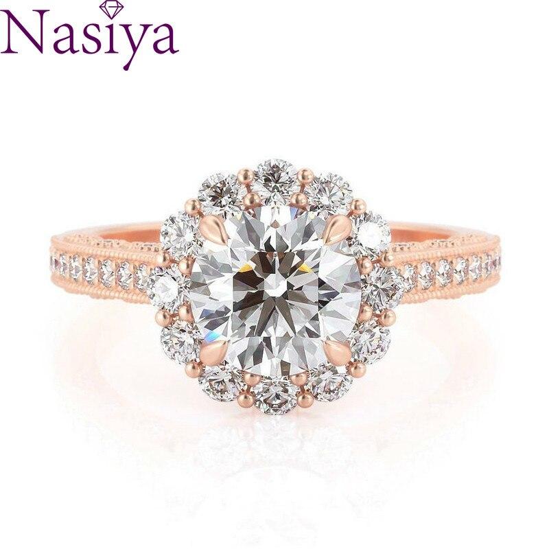 NASIYA fleur forme Halo bague de fiançailles 14k or Rose Center rond coupe 1ct 6.5mm EF couleur Moissanite bijoux fins pour les femmes