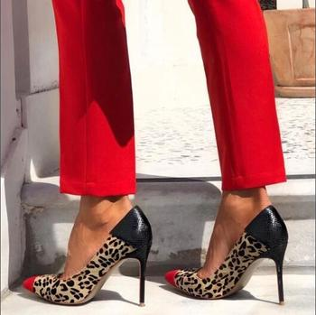 Free Shipping Big Size Fashion Woman Red Leopard Black Patchwork Pointed Toe Slip On Party High Heel Dress Pumps Shoes Lady