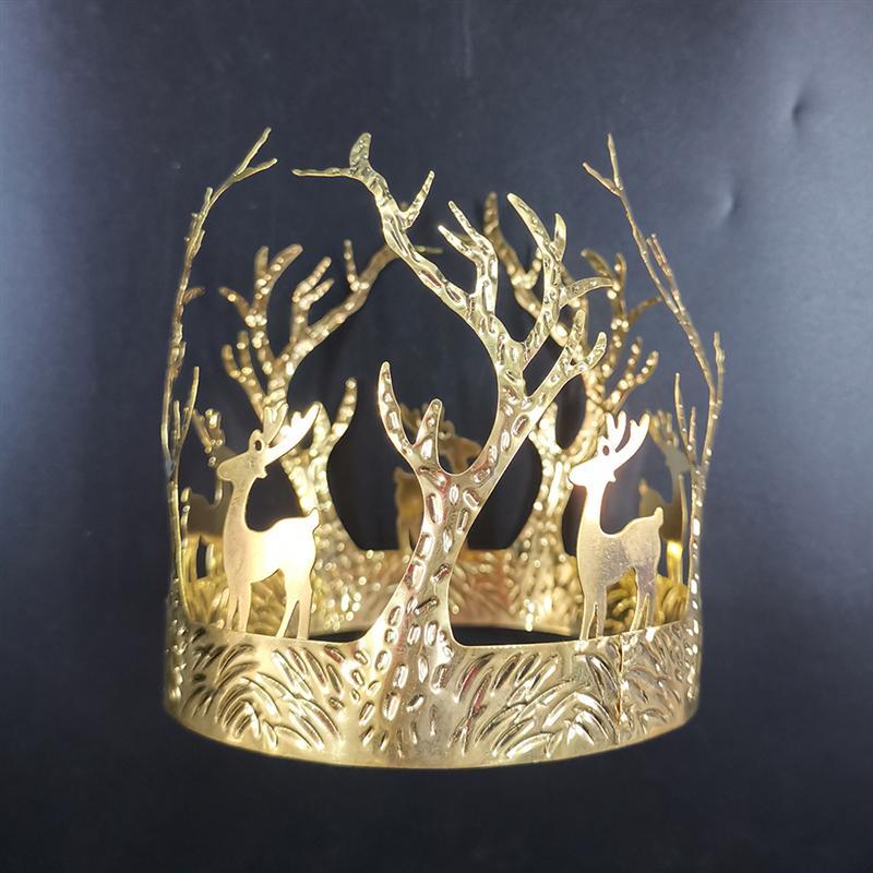 1 шт. Золотой торт Корона Топпер Рождественский олень узор Корона запеченный торт украшение маленькая дорогая форма головы носить на день рождения A35