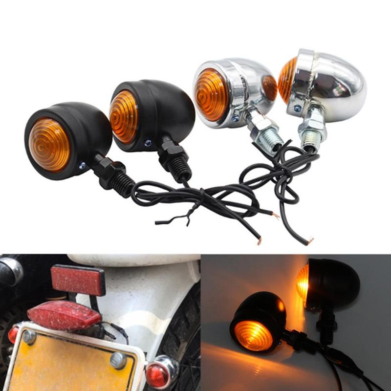 12V Motorcycle Universal 1 Pair Mini Retro Motorcycle Turn Signal Lights 1-Wire Amber Light Motorbike Blinkers Indicators