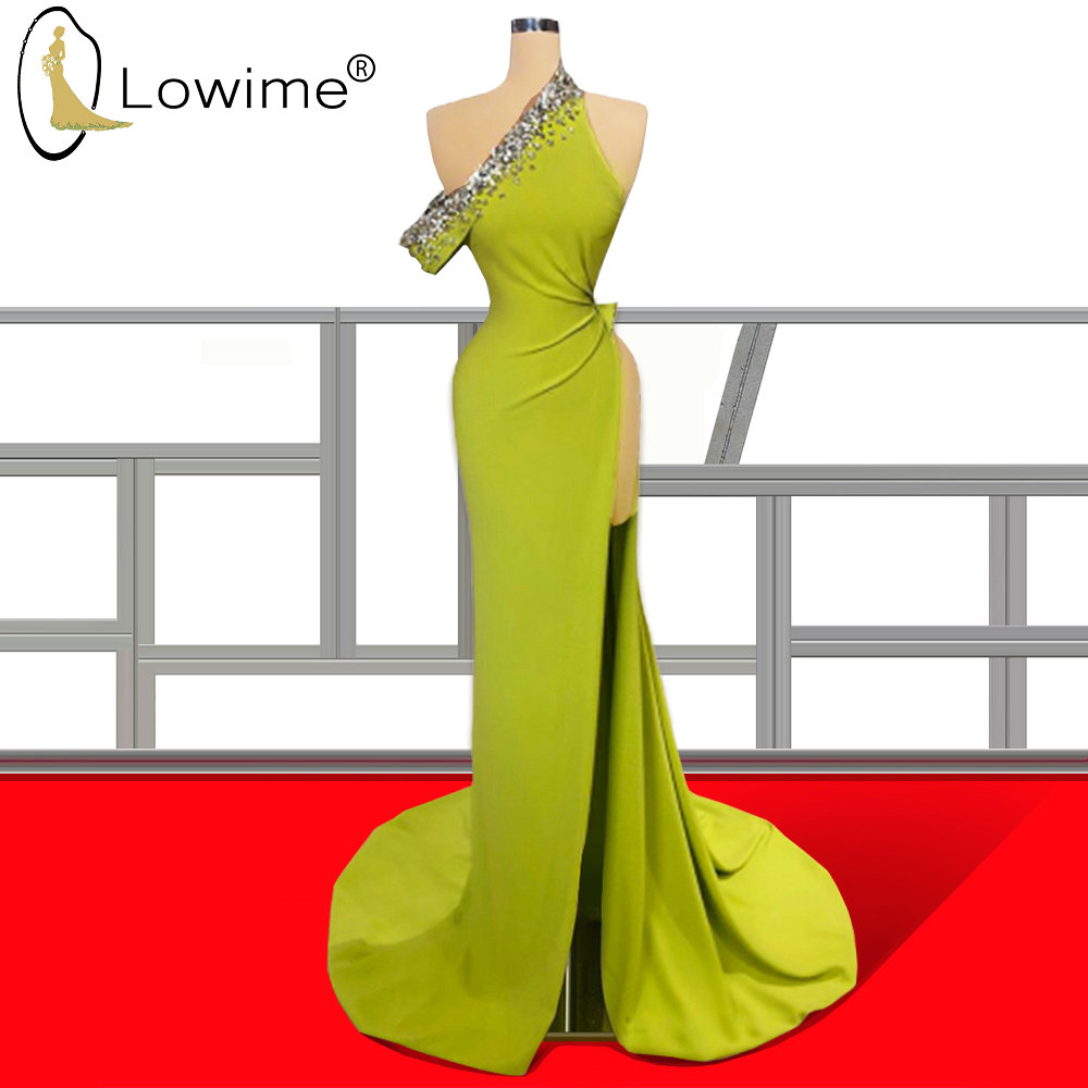 Unique Crystal One Shoulder Mermaid Evening Dresses High Side Split Ruched Robe De Soiree Formal Women Dresses Prom Party Gowns