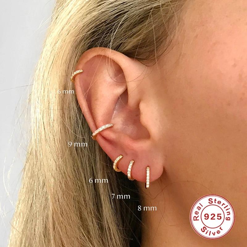 Roxi 925 Sterling Silver Earrings For Women/Men Small Hoop Earrings Ear Bone Aros Tiny Ear Nose Ring Girl Aretes Ear Hoops A30