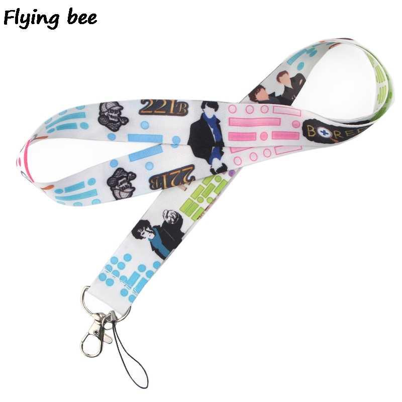 Flyingbee אופנה שרלוק שרוך Keychain מפתחות מחזיק נשים רצועת שרוכי צוואר מפתחות זיהוי כרטיס טלפון שרוך X0366