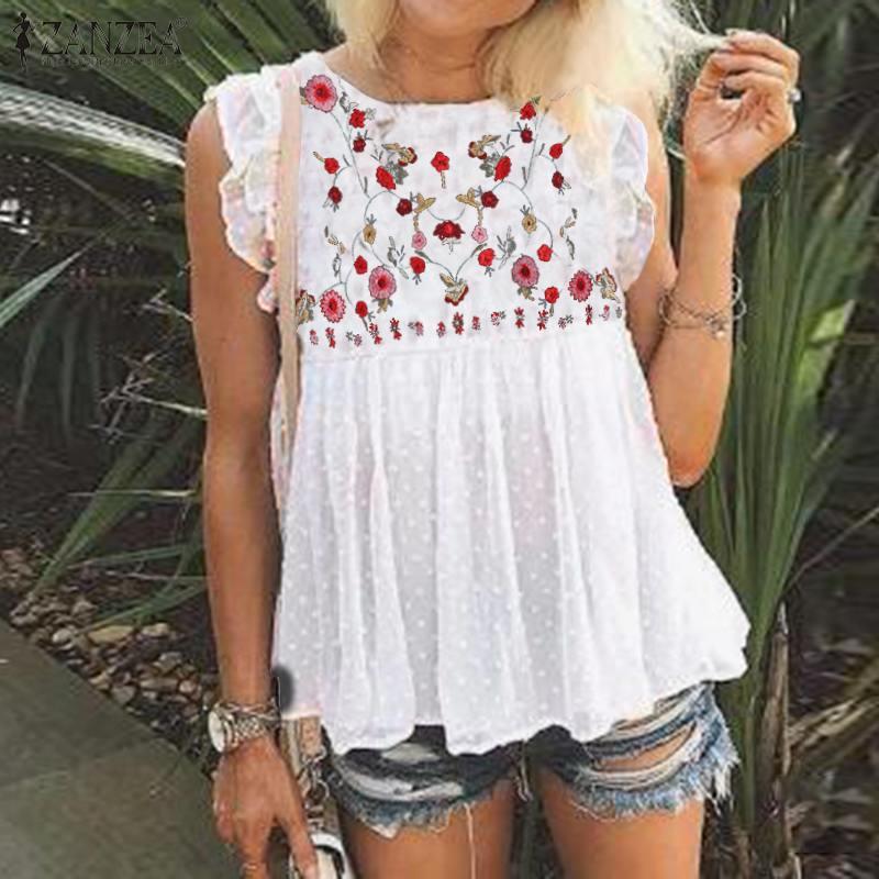 Womem's Embroidery Blouse ZANZEA 2020 Bohemian Tank Tops Floral Blusas Summer Ruflle Shirts Female High Waist Lace Tunic 3XL