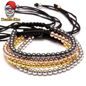 Copper Bead Woven Bracelet Hiphop Rock Street Culture Copper Alloy Bead Woven Chain Bracelet Men Fashion Trendy Jewelry Gift
