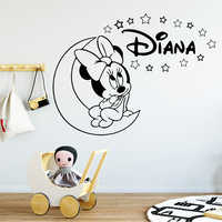 Cute Minie Custom Name Wall Art Decal For Kids Room Decor Stickers Mural Poster Baby Bedroom Wall Sticker Wallpaper Decals