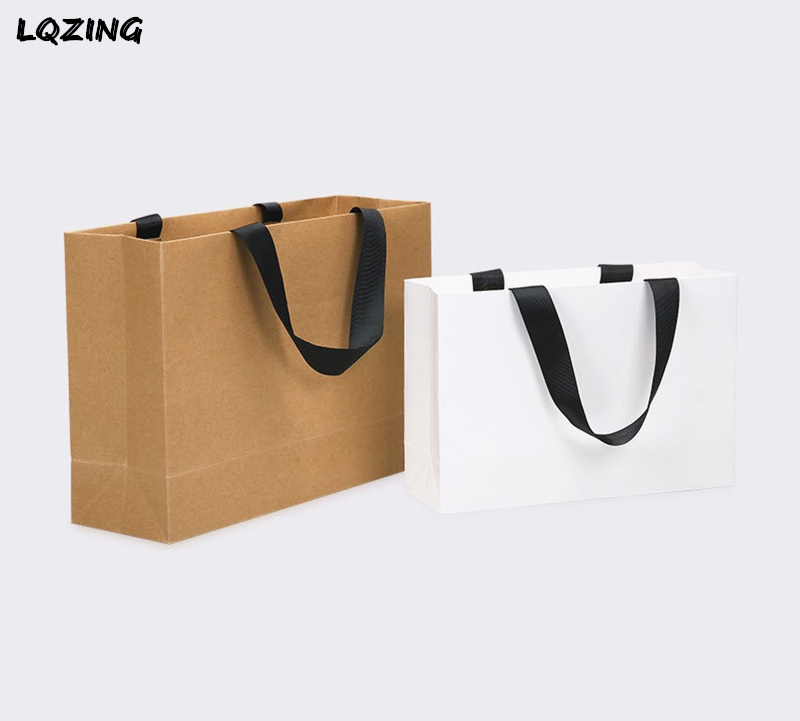 Handles Clothes Gift Party White Bag Paper Kraft With Celebration Black Birthday Large DIY Decor For Recyclable Bags Wedding