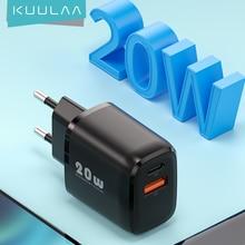 KUULAA 20W USB Typ C Ladegerät Für iPhone 12 Pro Max Mini Quick Charge 3,0 QC PD USBC USB-C schnelle Lade Reise Wand Ladegerät