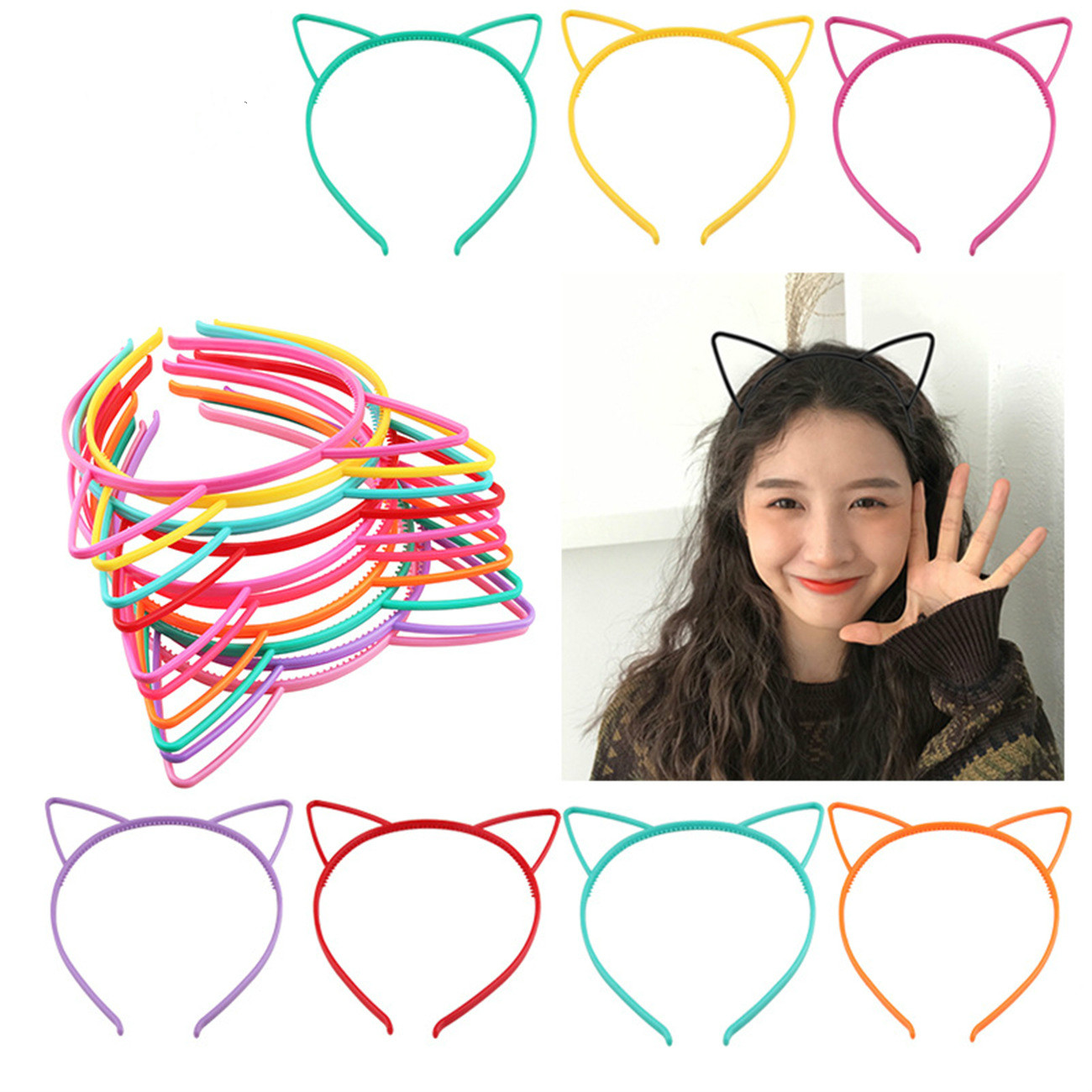 Cat Ears Headbands Crown Tiara Princess With Plastic Animal Hair Band Butterfly Bow Hoop Accessories Boho Headwear