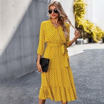Autumn Winter Dot Bandage Dress Women Casual Ruffles V Neck High Waist Slim Print Long Dress For Women 2021 New Fashion 2