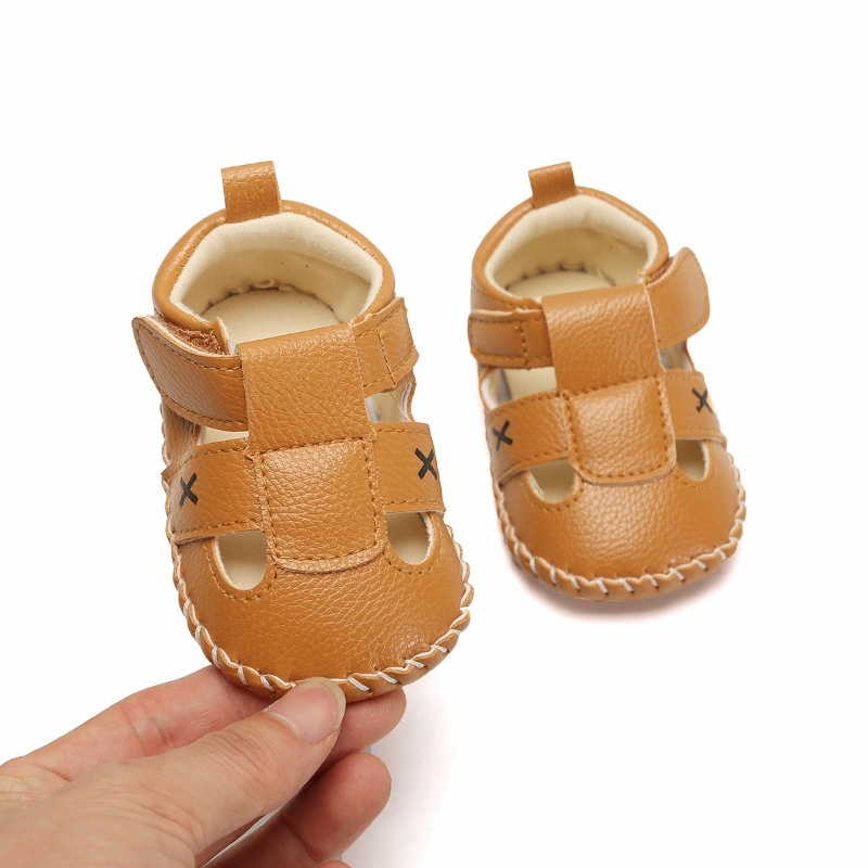 Baby Shoes Buckle First Walkers Cross Beach Rubber Soled Summer Shoes for 0-18M