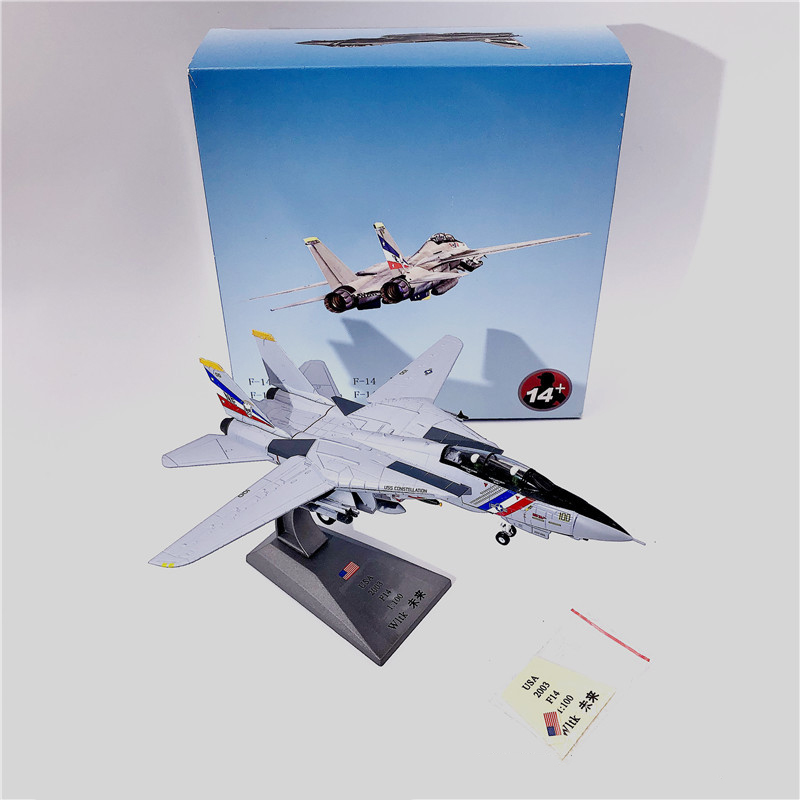 1:100 1/100 Scale US F-14 Tomcat VF-2 Fighter Diecast Metal Airplane Plane Aircraft Model Toy