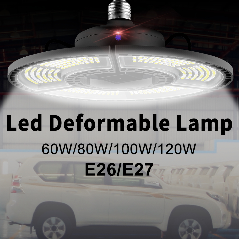 E26 LED Garage Lights 80W 100W 120W Deformable E27 LED High Bay Lamp 220V Waterproof Bulb For Workshop Ceiling Lighting Ampoule