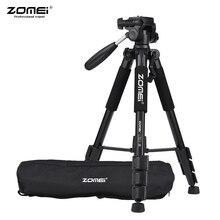 ZOMEI Q111 Trípode de cámara de aluminio de viaje portátil profesional con soporte para auricular Pan para trípode de cámara Digital SLR DSLR