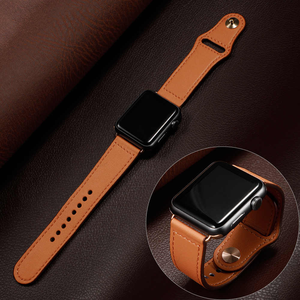 Correa de lazo de cuero para Apple watch band 44 mm 40mm iWatch band 42mm 38mm correa de cuero genuino pulsera de reloj de Apple 5 4 3 21