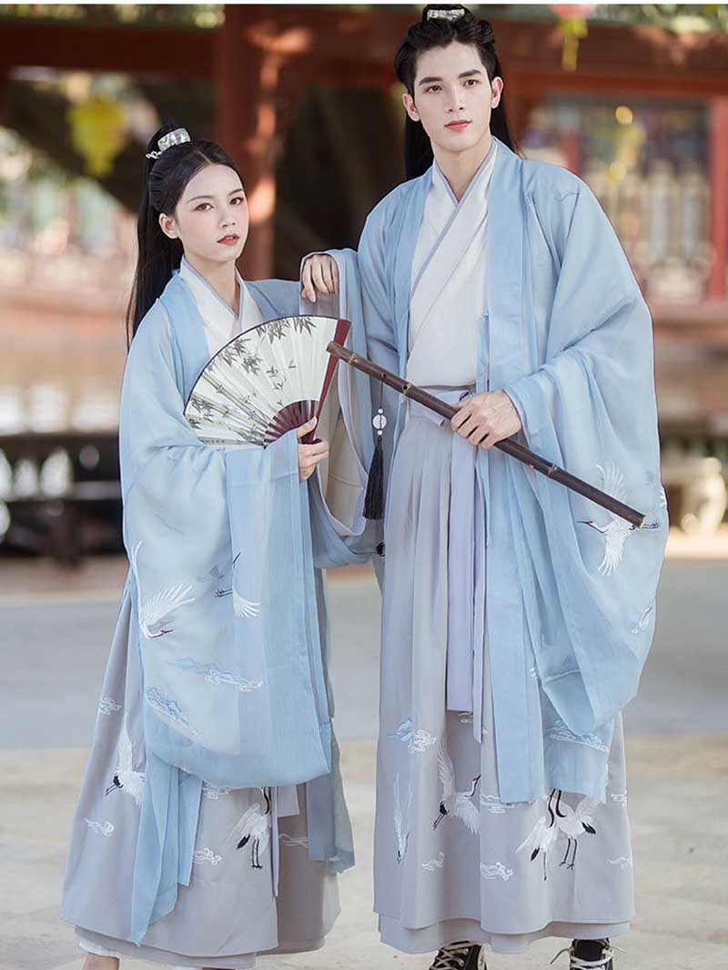 Men&Women Hanfu Traditional Chinese Ancient Clothes Blue Sets Fantasia Adult Carnival Cosplay Costume For Couple Fancy Dress XXL