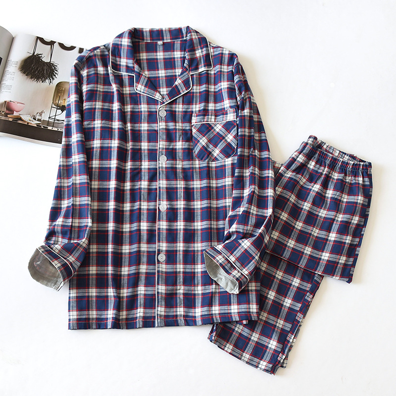 New Cotton Gauze Long-sleeved Trousers Sleepwear Set Casual Lattice Men's Loose Pajamas Home Wear Suit For Spring Autumn Summer