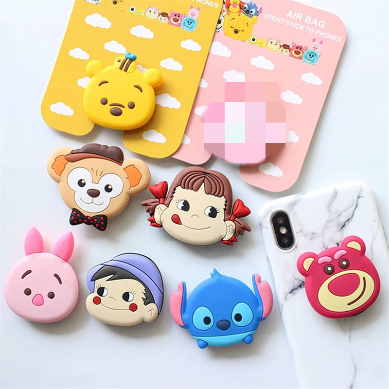 100PCS Universal phone Stand bracket Expanding Stand stretch grip phone Holder Finger Cute cartoon stand for iphone 6s 7 8 X XS