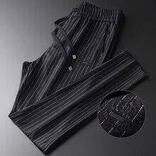 Minglu laine mélange hommes pantalon de luxe Sequin broderie décontracté Sport rayure mâle pantalon grande taille 4xl taille élastique hommes pantalon