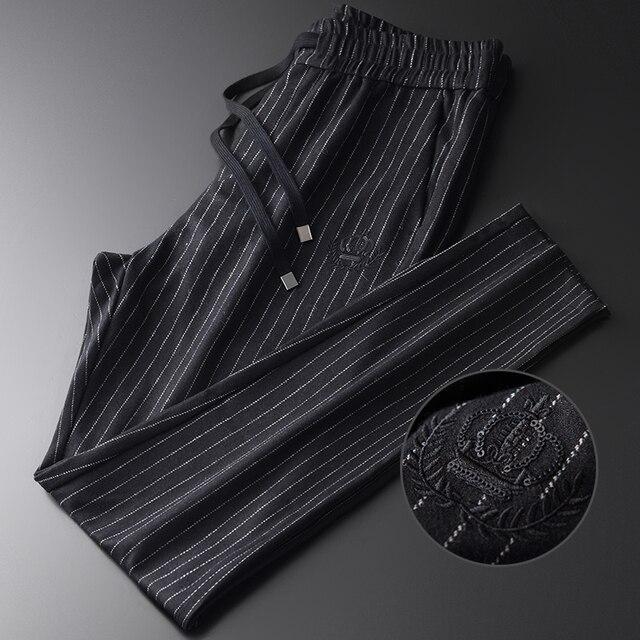 Minglu wełna mieszanie męskie spodnie luksusowy haft cekinowy Casual Sport Stripe spodnie męskie Plus rozmiar 4xl w pasie męskie spodnie