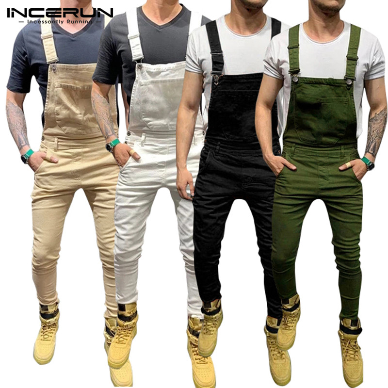 Men's Jumpsuit Solid Joggers Pockets 2020 Fitness Suspenders Streetwear Bib Rompers Casual Pants Men Overalls Plus Size INCERUN