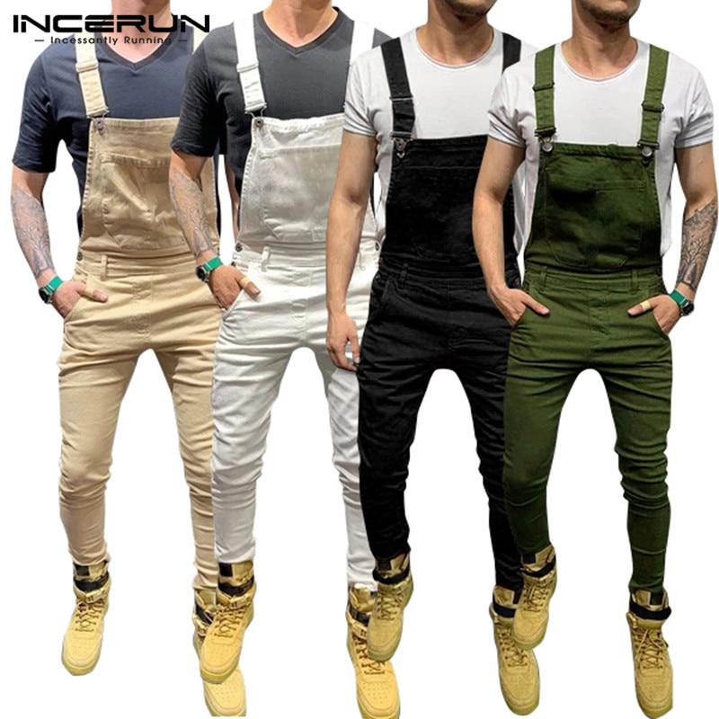 Men S Jumpsuit Solid Joggers Pockets 2020 Fitness Suspenders Streetwear Bib Rompers Casual Pants Men Overalls Plus Size Incerun Overalls Aliexpress