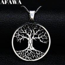 Collier arbre de vie en acier inoxydable pour femmes, chaîne couleur argent, bijoux, N42S01