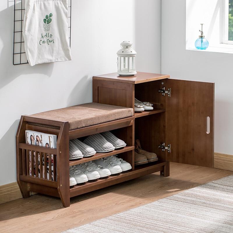 Бамбуковая стойка для обуви и скамейка органайзер хранения многофункциональный