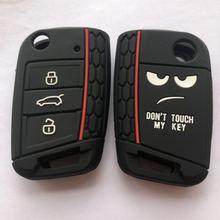 العسل سيليكون حافظة مفتاح السيارة الأتوماتيكية لفولكس واجن Golf7 بولو MK7 GTI R سكودا اوكتافيا كومبي A7 مقعد ليون إيبيزا كوبترا 3 زر عن بعد