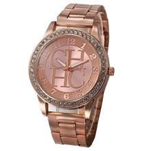 패션 제네바 여성 편안한 크리스탈 CHHC 라인 석 시계 럭셔리 브랜드 숙녀 로즈 골드 스틸 쿼츠 시계 Relogio Feminino