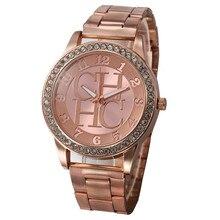Moda genebra feminino relaxado cristal chhc strass relógios de luxo marca senhoras rosa ouro aço quartzo relógio relogio feminino