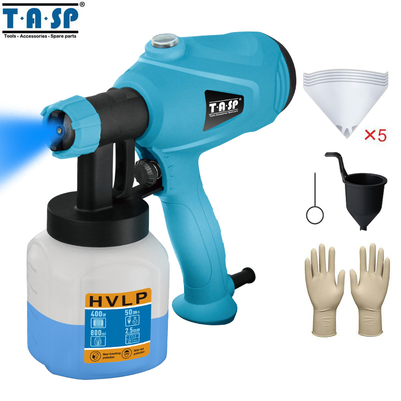 TASP 120V/230V 400W Electric Spray Gun HVLP Paint Sprayer Painting  Tools Compressor with Adjustable Flow Control and Strainer
