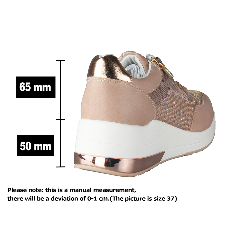 Brand Sneakers Women Breathable Shoes New Design 2020 Casual Platform Wedge Fashion Sneaker With Zipper Easy to Wear