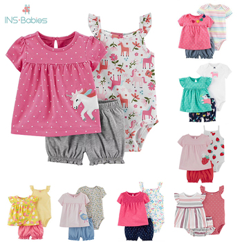 3 Pieces Cotton Girls Clothing Newborn Baby Girl Set Summer Infant Short Sleeve Cartoon Sets Floral dress+bodysuit+pants