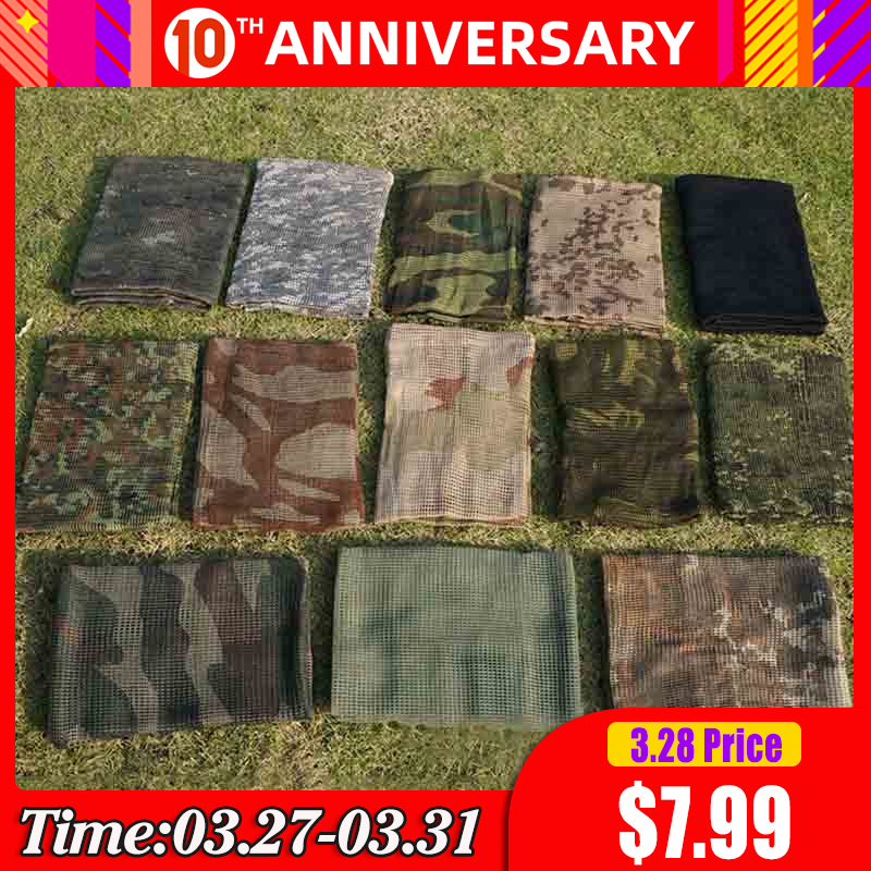 190*90cm Scarf Cotton Military Camouflage Tactical Mesh Scarf Sniper Face Winter Scarf Veil Camping Hunting Multi Purpose Scarve(China)