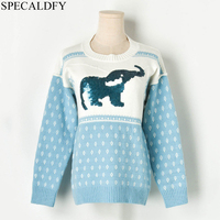 2019 Runway Winter Sweater Women Sequined Elephant Jacquard Knitted Pullover Womens Sweaters And Pullovers Jumper Pull Femme