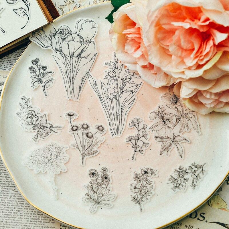flores do vintage planta decoração adesivo diy