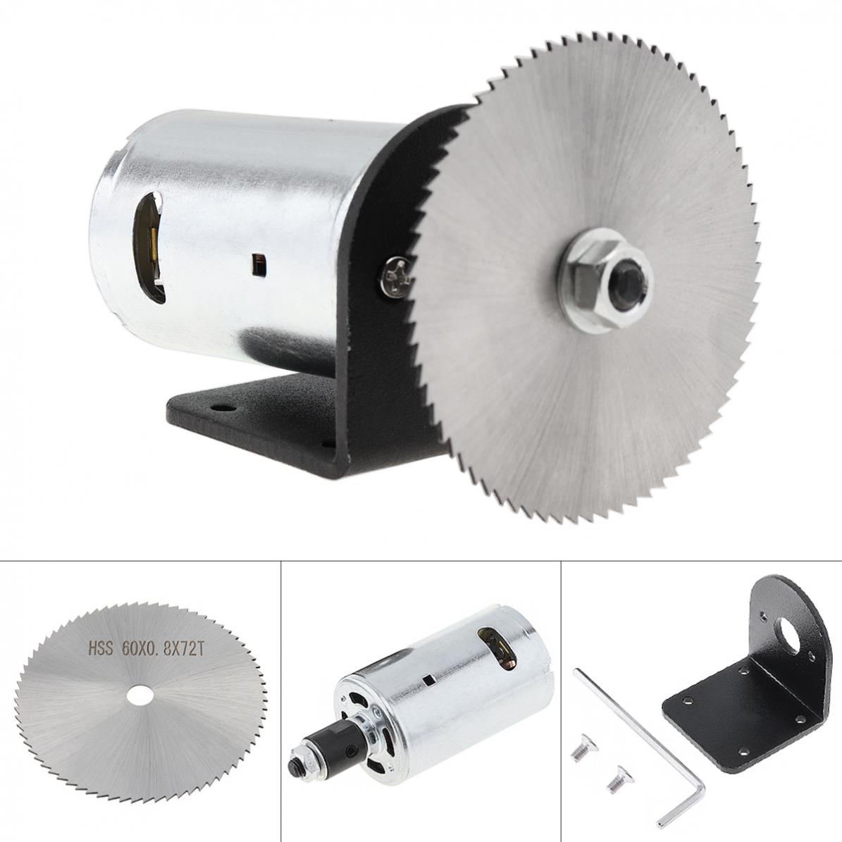 24V 555 Motor Table Circular Saw Kit With Ball Bearing Mounting Bracket And 60mm Saw Blade For Cutting Polishing Engraving