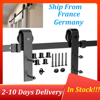 Barn Door Hanging Rail For Europe Rustic Black Sliding Track Kit Hardware Cabinet Wood Door 183CM/200CM Ship To Europe HWC