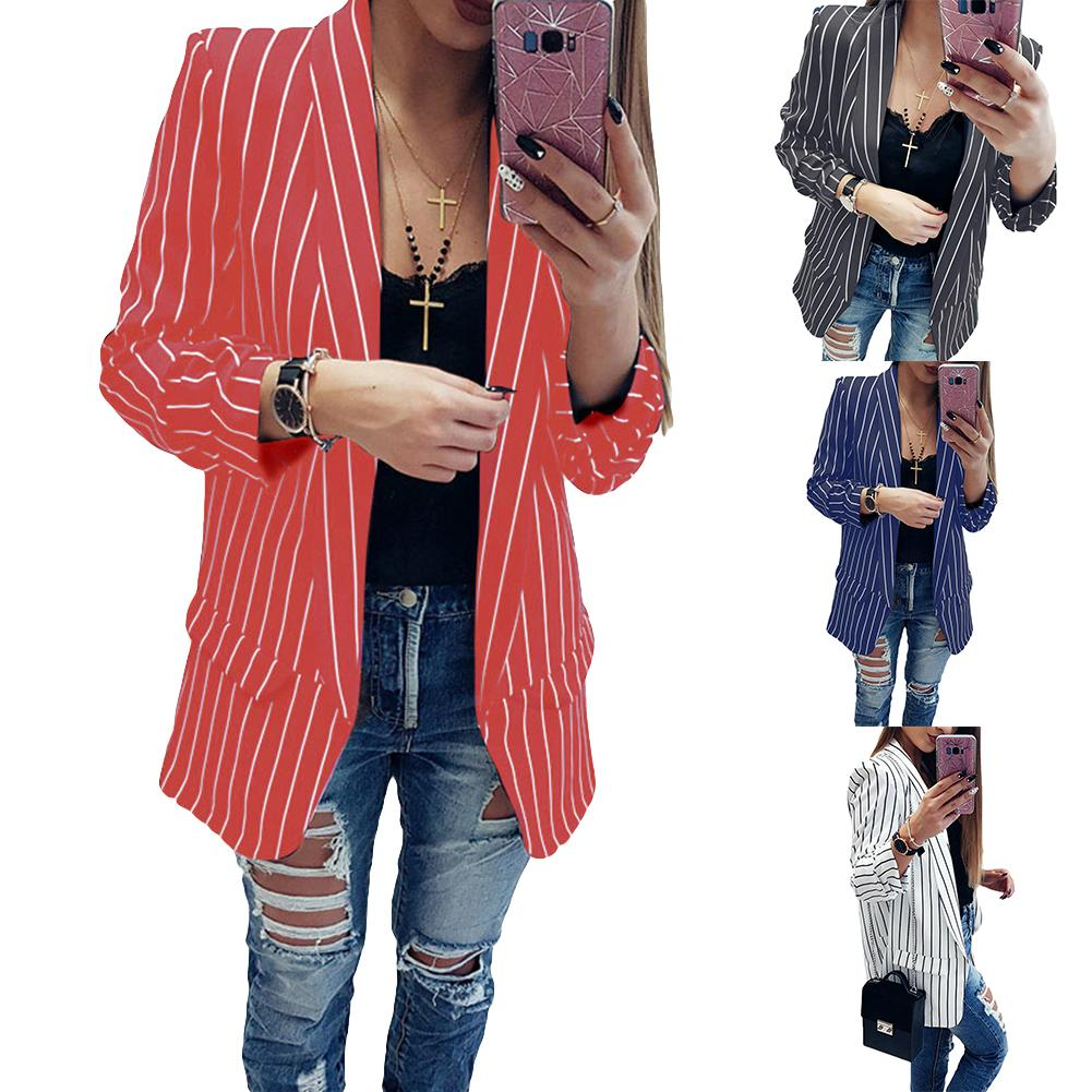 Women Blazer Jacket Coat Spring Summer Fall Winter Casual Long Sleeve Black White Red Blue Stripe Jackets Blazer Chaqueta Mujer
