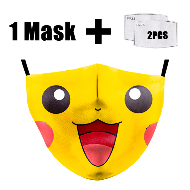 Cartoon Cute Pikachu Mask Reusable Print Face Masks Anime PM2.5 Filter Mask Fabric Washable Dust Proof Flu bacterial Masks