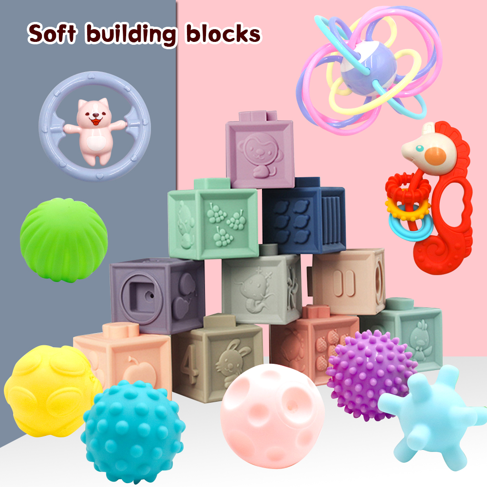 14pcs/set Baby Grasp Toy Building Blocks 3D Touch Hand Soft Balls Baby Massage Rubber Teethers Squeeze Toy Bath Ball Toys