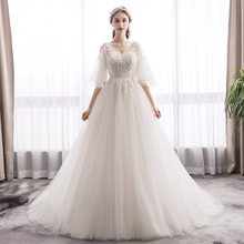 2020 Real Abiye Gece Elbisesi Sen's Light Wedding Dress 2020 New Bride, French Retro Hepburn Style V, Thin, Simple And Vibrato.(China)