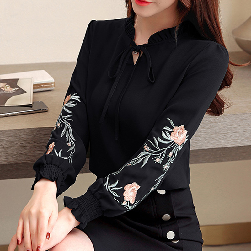 fashion womens tops and blouses 2020 long sleeve 3XL 4XL plus size women shirts floral embroidery chiffon blouse shirt
