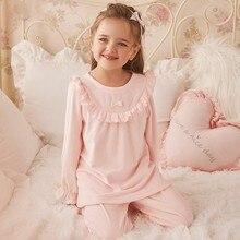 Autumn Winter Flannel Pajamas For Girls Warm Long Sleeve Pants Suit Nightwear 100% Cotton Sleepwear Toddler Girls Pyjamas Nighty