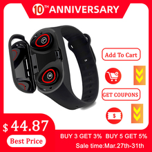 Smart-Watch Bluetooth-Call Earphone Fitness-Tracker Android 2-In-1 Sport IOS with Handsfree