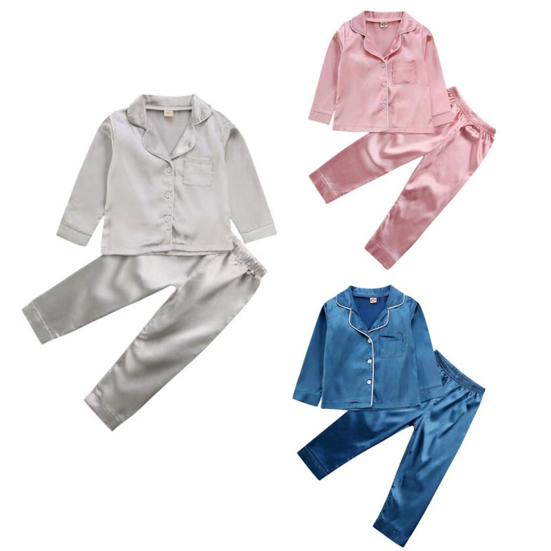 Baby Boy Girl Nightgown Sleepwear Silk Solid Color Button Down Long Sleeve Tops Pants 2Pcs Outfit Pajama Set